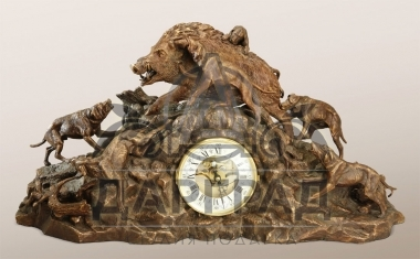 """Каминные часы """"Охота на кабана"""""""