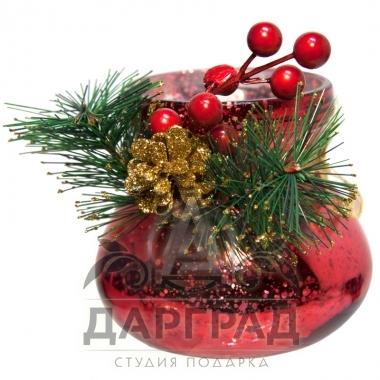 Овальная новогодняя вазочка (красная) купить в магазине подарков Dargrad.ru