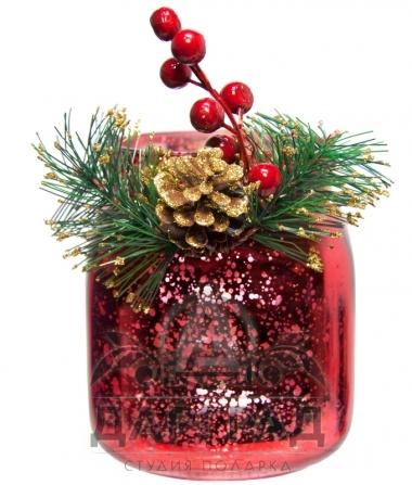 Новогодняя вазочка (красная) купить в магазине подарков Dargrad.ru
