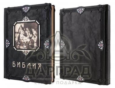 библия с гравюрами в кожаном переплете