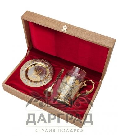"""Чайный набор """"Золотой Петербург"""" (Златоуст) в подарочной упаковке из дерева"""