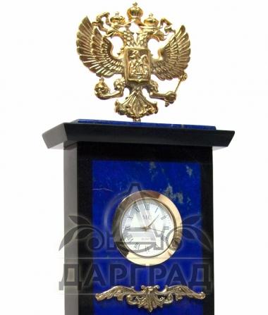 Часы кабинетные «Герб РФ» (лазурит)