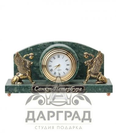 """Купить Настольные часы """"Грифоны"""" (мрамор) в подарок из Санкт-Петербурга"""