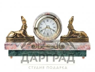 """Заказать Настольные часы """"Сфинксы"""" (мрамор) в подарок с символикой Петербурга"""