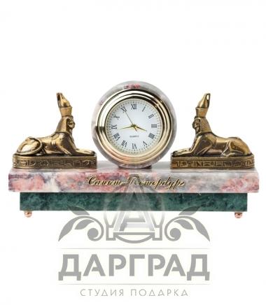 """Купить Настольные часы """"Сфинксы"""" (мрамор) в магазине подарков Дарград"""