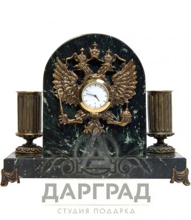 """Настольный прибор с часами """"Герб РФ"""""""