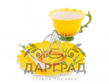 Чайная пара «Подсолнух» для женщины в подарок