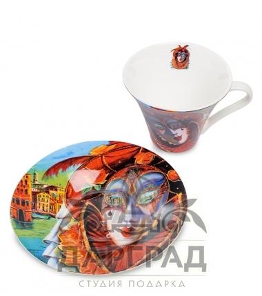 """Купить Чайная пара """"Венецианские маски"""" вар.1 в магазине подарков дарград"""