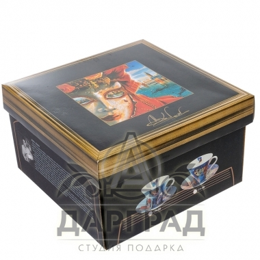 """Чайная пара """"Венецианские маски"""" вар.2 в подарочной коробке"""