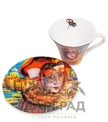 """Купить Чайная пара """"Венецианские маски"""" вар.3 в магазине подарков дарград"""