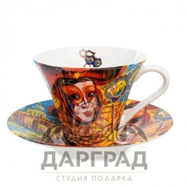 """купить Чайная пара """"Венецианские маски"""" вар.3 с доставкой по Петербургу"""