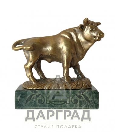 """Корпоративный подарок Фигурка """"Бык"""" бронза на мраморе"""