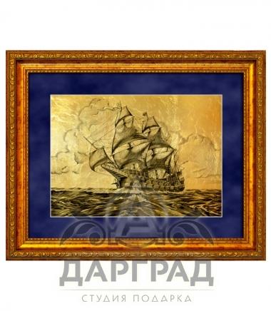 """Купить Картина на золоте """"Барк в море"""" в подарок"""