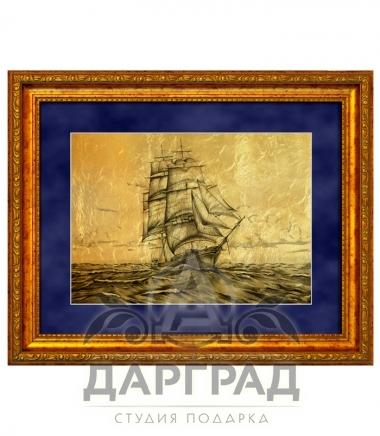 """Купить Картина на золоте """"Парусник в море"""" в подарок руководителю"""