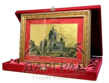 """Картина на золоте """"Исаакиевский собор"""" (большая) в подарочной коробке"""