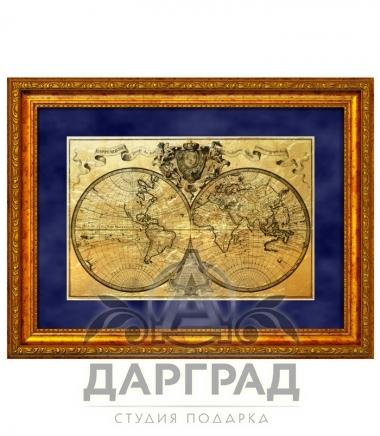 """Купить эксклюзивный подарок Картина на золоте """"Карта путешествий"""""""
