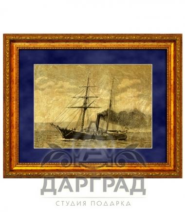 """Купить Картина на золоте """"Корабль с трубой"""" в интернет магазине с доставкой"""
