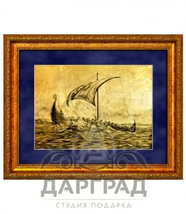 """Купить Картина на золоте """"Парусная ладья"""" в подарок моряку"""