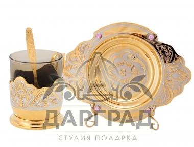 Позолоченная чашка с блюдцем в подарочной коробке