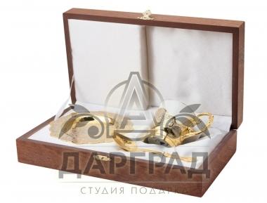Кофейная пара «Цветы» (Златоуст) в подарочном коробе