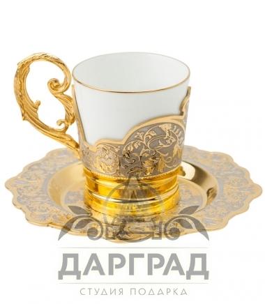 Купить Кофейная пара «Цветы» (Златоуст) в магазине подарков дарград