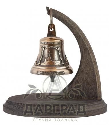 Колокольчик Санкт-Петербург на деревянной подставке