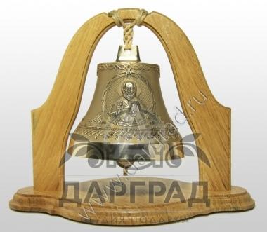 Колокол Николай чудотворец на деревянной подставке