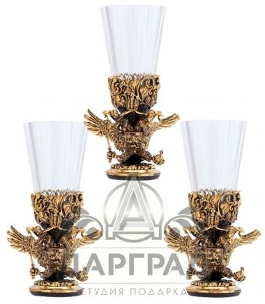 Набор из 3-х лафитных стопок «Двуглавый орел»