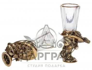 комплект лафитников из хрусталя и бронзы