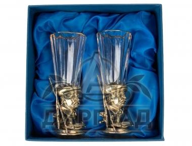 Набор из 2-х стопок «Охота-рыбалка» в подарочной коробке синего цвета