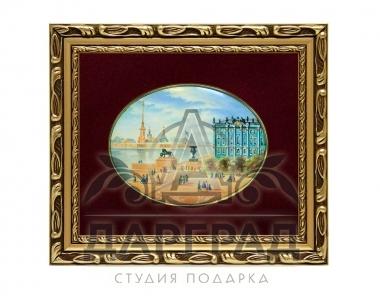 Заказать эксклюзивный подарок Лаковая миниатюра «Дворцовая набережная» в СПб