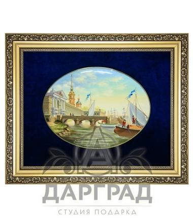 """купить Лаковая миниатюра """"Пристань"""" в подарок гостю города."""