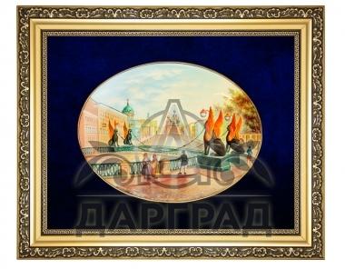 Лаковая миниатюра панно «Банковский мост» эксклюзивный подарок на заказ