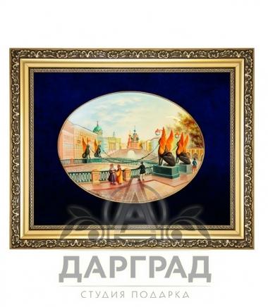 Купить дорогой подарок Лаковая миниатюра панно «Банковский мост» в Санкт-Петербурге