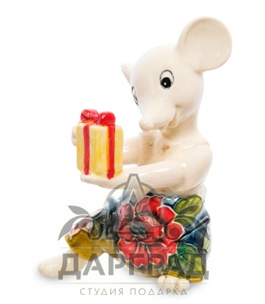 фарфоровая фигурка мышки с подарком pavone