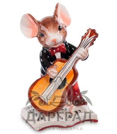 новогодняя фигурка из керамики мышонок-музыкант