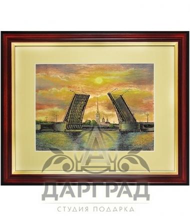 Гравюра на металле расписанная эмалями «Мосты Санкт-Петербурга на закате» цветная