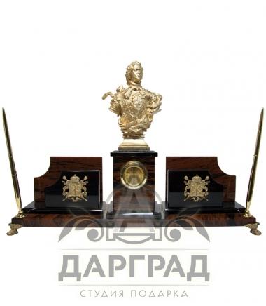 Настольный набор из обсидиана «Петр Великий»