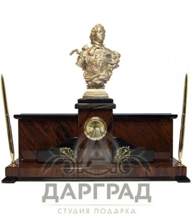 """Настольный набор из обсидиана """"Бюст Петра Великого"""""""