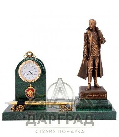 Подарок сотруднику ФСБ Настольный прибор с часами «Дзержинский»