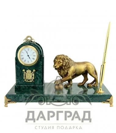 Настольный набор «Лев с шаром» из мрамора купить в магазине подарков Дарград