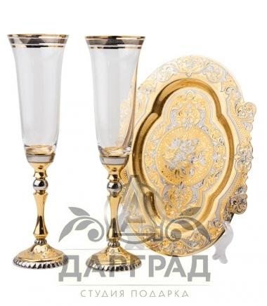 Купить набор из двух бокалов под шампанское златоуст