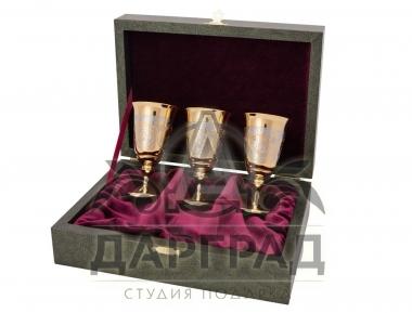 Позолоченные стопки в подарочной коробке Златоуст