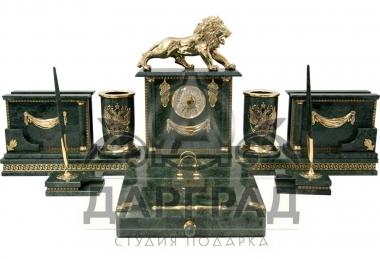 Эксклюзивный подарок руководителю Настольный набор из мрамора «Лев»