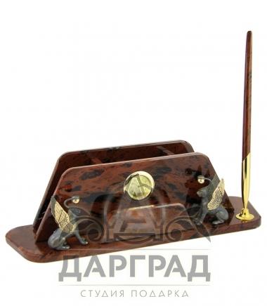 Настольный прибор из камня обсидиан с грифонами