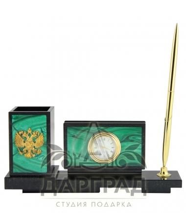 Настольный прибор из малахита с гербом