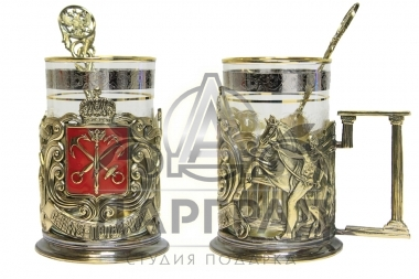 Заказать Подстаканник «Герб Петербурга» эмаль в подарок иностранцу или гостю города