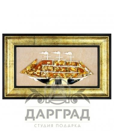 Панно из янтаря «Парусник»