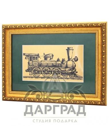 Купить Панно на металле «Ретро-паровоз» в подарок железнодорожнику