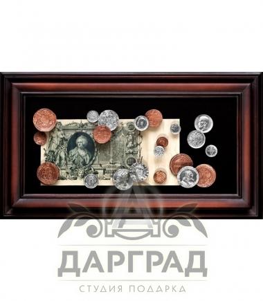 """Панно """"Купюра Екатерина Вторая с монетами"""" в магазине подарков Дарград"""